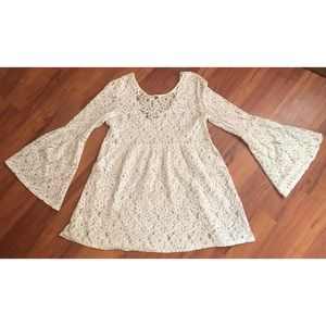 forever 21 large dress lace boho bell sleeves